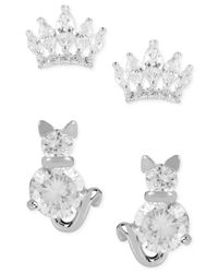 Betsey Johnson - Metallic Silver-tone Crystal Cats And Crowns Duo Stud Earring Set - Lyst