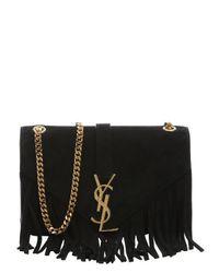 db7ce34e93f0 Lyst - Saint laurent Black Suede Fringe Monogram Chain Shoulder Bag ...