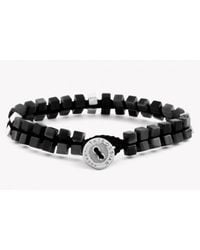 Tateossian | Metallic Silver Button Double Cube Macramé Bracelet With Black Agate | Lyst