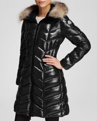 Moncler | Black Bellette Hooded Down Coat With Fur Trim | Lyst