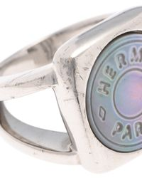 Hermès - Metallic HermãˆS Clou De Selle Mother-Of-Pearl Ring - Lyst