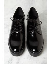 Forever 21 - Black Patent Faux Leather Heeled Oxfords - Lyst