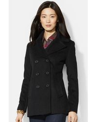 Lauren by Ralph Lauren | Black Double Breasted Wool Blend Peacoat | Lyst