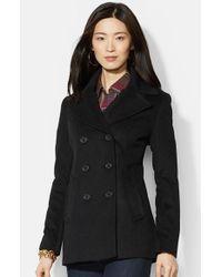 Lauren by Ralph Lauren | Black Double Breasted Wool Blend Peacoat | Lyst