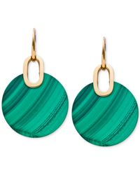 Michael Kors - Green Gold-tone Malachite Disc Drop Earrings - Lyst