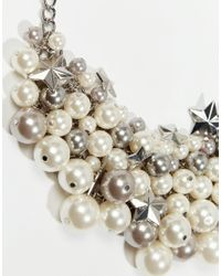 Oasis | Gray Faux Pearl And Star Cluster Necklace | Lyst