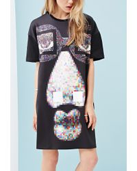 Forever 21 - Multicolor Ziztar Pixelated Face Graphic Dress - Lyst