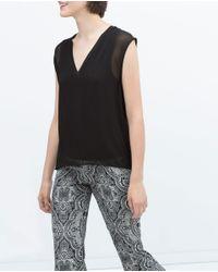Zara   Black Top With Ribbed Neckline   Lyst