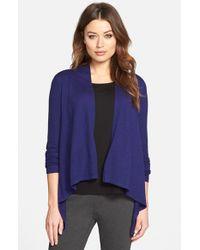 Eileen Fisher - Blue High/low Long Sleeve Merino Wool Cardigan - Lyst
