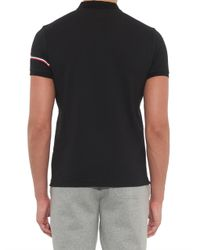 Moncler - Black Sleeve-Stripe Cotton-Piqué Polo Shirt for Men - Lyst