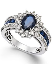 Macy's | Blue Sapphire (2-1/5 Ct. T.w.) And Diamond (3/4 Ct. T.w.) Ring In 14k White Gold | Lyst