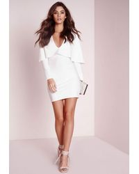 12b0cdd9219cb Lyst - Missguided Crepe Long Sleeve Cape Dress White in White