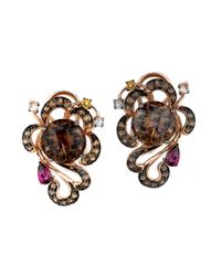 Le Vian | Brown Smoky Quartz And Multi Stone Earrings In 14k Rose Gold | Lyst
