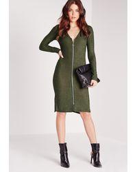 Missguided - V-neck Ribbed Midi Bodycon Dress Green - Lyst