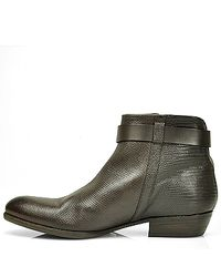 275 Central - Brown Leather Zipper Bootie - Lyst