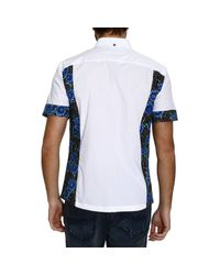John Richmond - White Half Sleeve Shirt With Rose Printed Inserts for Men - Lyst