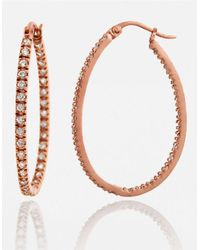 Lord & Taylor | Pink Rose Gold-plated Small Cubic Zirconia Hoop Earrings | Lyst