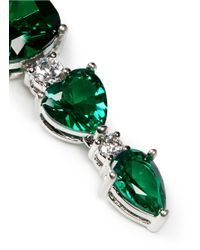 CZ by Kenneth Jay Lane | Green Cushion Heart Cut Cubic Zirconia Drop Earrings | Lyst