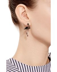 Marc Alary - Black Rhodium Flamingo Earrings With Mother Of Pearl Inlay - Lyst
