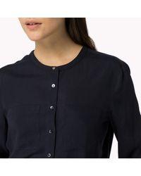 Tommy Hilfiger | Blue Tencel Long Sleeve Blouse | Lyst