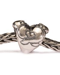 Trollbeads | Metallic Hugging Heart Silver Charm Bead | Lyst
