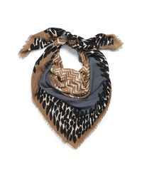 Burberry | Blue Mixed Print Wool & Modal Square Scarf | Lyst
