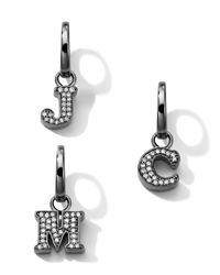 Ippolita - Metallic Black Sterling Silver Diamond Initial Charm - Lyst