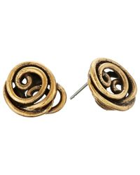 Oscar de la Renta | Metallic Wire Rose Button Earrings | Lyst