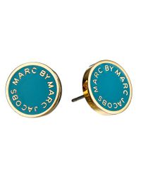 Marc By Marc Jacobs - Blue Enamel Logo Disc Studs Earring - Lyst