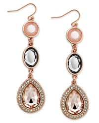 INC International Concepts | Pink Rose Gold-tone Faceted Bead And Crystal Triple Drop Earrings | Lyst