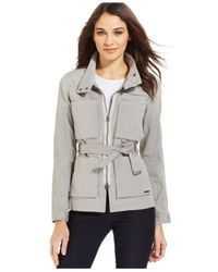 Calvin Klein Jeans - Gray Belted Utility Jacket - Lyst