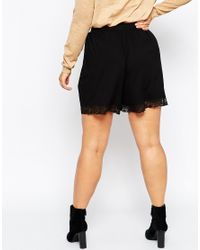 ASOS - Black Culottes With Lace Hem - Lyst