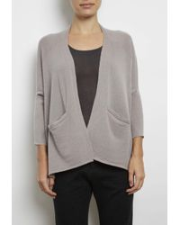 INHABIT | Gray Cashmere Upside Down Cardi | Lyst
