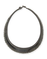 R.j. Graziano - Gray Collar Necklace With Crystals - Lyst