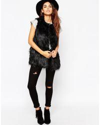 ASOS - Black Vintage Longline Faux Fur Gilet - Lyst
