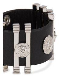Versus | Black Lion-embellished Leather Cuff for Men | Lyst
