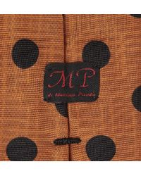 Mp Massimo Piombo - Orange Polkadot Silk Tie for Men - Lyst