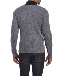 Qi | Black Textured Cashmere Quarter-Zip Sweater for Men | Lyst