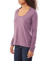 Alternative Apparel | Purple Rib Sleeve Satin Jersey T-shirt | Lyst
