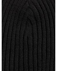 John Varvatos | Black Double Layer Rib Knit Beanie for Men | Lyst