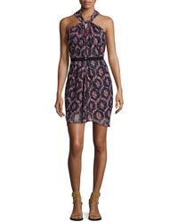 Isabel Marant - Red Printed Knotted-halter Dress - Lyst