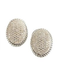 David Yurman - Metallic Silver And Diamond Oval Cable Detail Earrings - Lyst