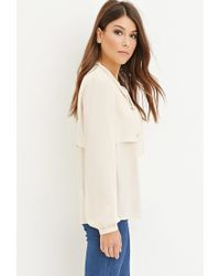 Forever 21 - Pink Flounced Self-tie Blouse - Lyst
