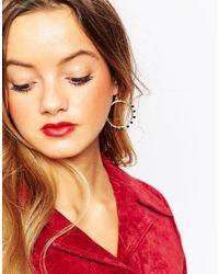 ASOS | Metallic 35mm Stone Hoop Earrings | Lyst