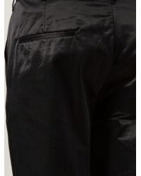 Ann Demeulemeester | Black Cropped Sheen Trousers for Men | Lyst