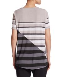 Vince - Gray Geo-striped Jersey Tee - Lyst