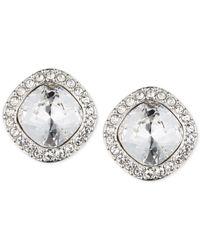 Givenchy - Metallic Rhodium-tone Pavé Cushion Button Stud Earrings - Lyst