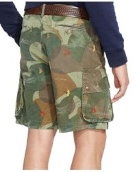 Polo Ralph Lauren | Green Relaxed-fit Embroidered Camo Short for Men | Lyst