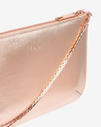 Ted Baker - Pink Colour Block Leather Clutch Bag - Lyst