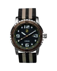 Izod - Watch Unisex Black And Gold Striped Canvas Strap 42mm Izs35gold - Lyst